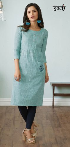 Soch Stone Blue Cotton Self Design Kurti Salwar Designs, Plain Kurti Designs, Simple Kurta Designs, Silk Kurti Designs, Kurta Designs Women, Kurti Designs Party Wear, Blouse Designs, Latest Kurti Designs, Long Kurta Designs