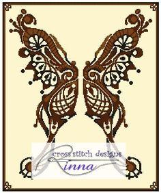 Butterfly - Brown Lace - Cross Stitch www.cross-stitchdownloads.com