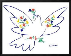 Framed Art Print: Dove of Peace by Pablo Picasso : 23x29in