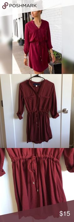 Burgundy Shirt Dress | Francesca's Very durable material. Worn and washed a handful of times. Lots of life left. Size medium but fits more like a small. Francesca's Collections Dresses