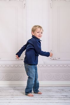 Boys Navy Military Jacket in motion
