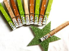 10 CHRISTMAS CLOTHESPINS hand painted magnetic by SugarAndPaint
