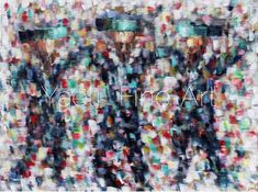 """""""Practice like you've never won. Perform like you've never lost."""" Three dancing chasssidim, mosaic abstract painting."""