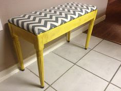 chevron grey & yellow piano bench before & after