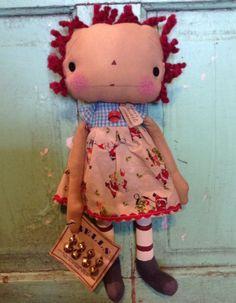 Christmas santa Raggedy Ann Doll by oldragdollcupboard on Etsy