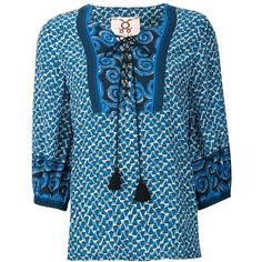 Figue 'Bella' top (€400) ❤ liked on Polyvore featuring tops, blue, boho tops, patterned tops, blue print top, criss cross top and blue top