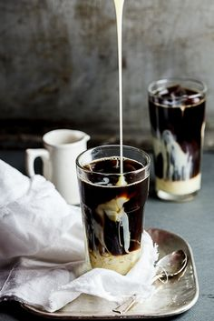 Iced Coffee --- •strong black coffee •sweetened condensed milk to serve •coffee ice cubes •••• Allow the coffee to come to room temperature • Fill a glass with coffee ice cubes and pour in the coffee •Pour in a generous amount of sweetened condensed milk, stir and serve.