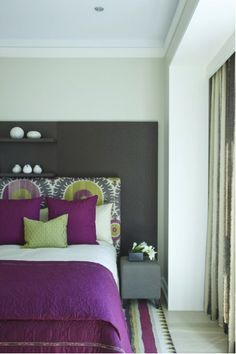 Painting a bedroom gray is a great way to provide your room with a grounding neutral color to which you can add luscious pops of color.  Yellows, purples, turquoise and hot pink all look stunning against a gray base. #gray #paint #bedroom
