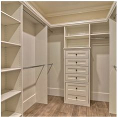 I like this (almost) exact closet.  Put the dress bar on my side and shelving unit with less drawers, more shelves on top.