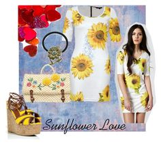 Sunflower Love by koolkolourz on Polyvore featuring polyvore fashion style Rare London Sergio Rossi ASOS 1928 clothing sunflower heart