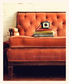 Reading Nook Fine Art Print--Vintage Books Camera Couch Sofa Tufted Antique Peach Pink Brown Velvet Room Home Decor Wholesale on Etsy, $15.00