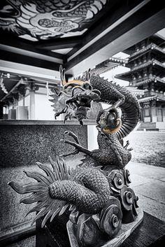 The statue of dragon in shitennoji temple, Osaka, Japan