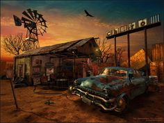 abandoned, car, derelict, gas station, rusty, sunset