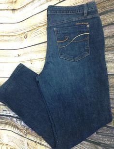 DKNY Womens 14R Soho Boot Cut Jeans Stretch Mid Rise Dark Distressed Wash 34x30 #DKNYJeans #BootCut