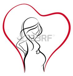 Silhouette of pregnant woman heart love vector logo Stock Vector