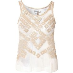 Estradeur Coachella Top ($39) ❤ liked on Polyvore featuring tops, nude, womens-fashion, round neck top, see through tops, embellished tops, tall tops and transparent tops