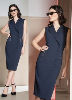 Moda anti-idade: 17 Vestidos clássicos para mulheres modernas Office Dresses, Dresses For Work, Trendy Tops For Women, Ideias Fashion, Cool Style, Fashion Dresses, Casual Outfits, High Neck Dress, Couture