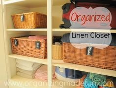 Great example of an organized linen closet. Love the baskets.