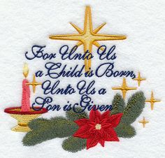 For Unto Us a Child is Born design (G7915) from www.Emblibrary.com