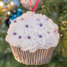Super easy to make cupcake ornaments are the perfect gift for friends and family!