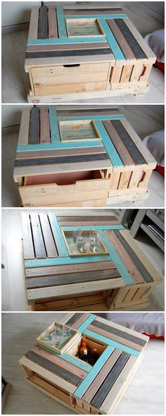 Over here we have the wood pallet table design that is so creatively designed out in the awesome variation look. You will encounter it so exceptional looking because of the mind-blowing space of the storage being part of it. The planks are shaded in colorful hues that look so attractive.