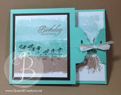 Happy Birthday handmade card using the painters tape technique and the scallop tag topper closure technique.  Video tutorial on this post