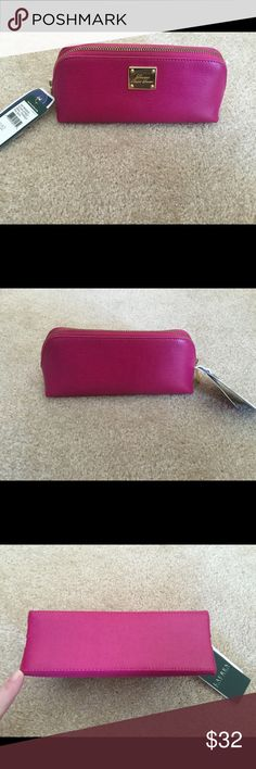 """Ralph Lauren """"Sloan ST """" pink triangle zipper case Sapphire Pink """"Sloan Street"""" triangle zipper case by Ralph Lauren . Brand new never used . Original price was over $65. Item comes from smoke/pet free enviroment Ralph Lauren Bags Cosmetic Bags & Cases"""