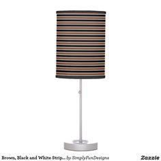Brown, Black and White Stripes Desk Lamp