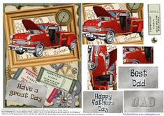 Red Retro Car Fathers Day 5 on Craftsuprint designed by Di Simpson - A great pyramid red retro car design for Fathers day. Has lots of 3D elements and tags to bring your card to life. - Now available for download!