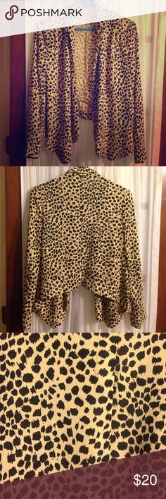 MINKPINK Animal Print Blazer This high-low blazer style jacket is made of a lightweight chiffon type material and drapes in a cute and fluttery way. An excellent piece for a night out or a cute business casual outfit. MINKPINK Sweaters Cardigans