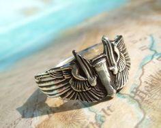Silver Ring Fine Silver Jewelry Winged Bomber by HappyGoLicky