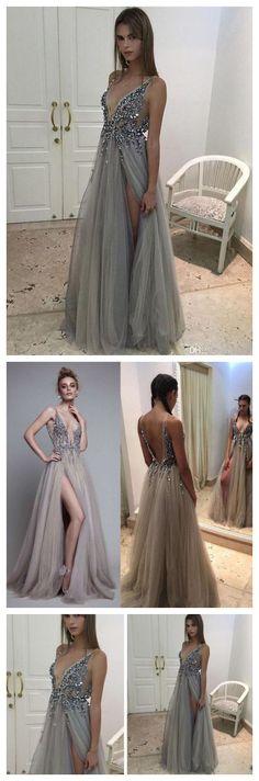 SEXY PROM DRESS, A-LINE V-NECK EVENING DRESS GREY PROM LONG DRESS WITH SIDE SLIT MK561