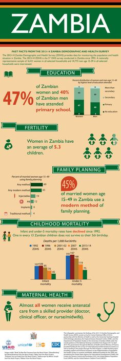 2013-14 Zambia Demographic and Health Survey infographic. #FamilyPlanning #MaternalHealth #ChildHealth #Fertility #Education #ZDHS #Zambia