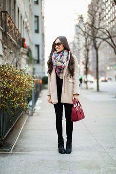J.Crew coat,�J.Crew sweater,�Zara scarf,�7 For All Mankind jeans c/o,�Rag