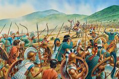 """The Athenian archers hold the line"""", Peter Dennis. Persian Warrior, Greek Warrior, Greek History, Ancient History, Military Art, Military History, Battle Of Plataea, Greco Persian Wars, Greek Soldier"""
