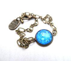 Armbanden - armband cabochon 'kind of blue' (S-581d) - Een uniek product van DomesDesign op DaWanda