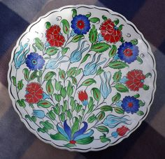 Large Hand Painted Kutahya Iznik Gini Wall Plate Traditional Floral Design | eBay