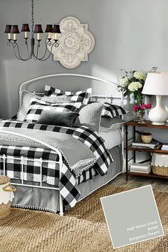 Love these colors and prints for the family room.Benjamin Moore's Half Moon Crest in Ballard Designs Winter 2017 catalog Plaid Bedroom, Gray Bedroom, Master Bedroom, Bedroom Bed, Modern Bedroom, Bedroom Table, Black Curtains Bedroom, Plaid Bedding, Pretty Bedroom