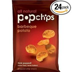 Popchips Potato Chips, (healthy snack, barbecue, chips, potato chip, potato chips, snacks, packaged goods, weight watchers, diet food, health)