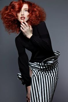 black and white stripes with RED hair