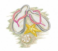 Flip Flops on a Beach - Machine Embroidery Beach Design - Digital Download Embroidery Fiie