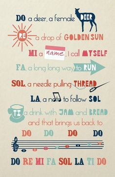 The lyrics to Do Re Mi in a pretty poster, may be fun for my Let's Play Music students www.Letsplaymusicsite.com