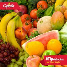 Mantén las frutas y vegetales en su estado crudo para obtener de ellos la mayor cantidad de nutrientes que se pueda. Recuerda que el jugo de frutas también cuenta como una porción de fruta. #TipsCapullo