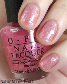 OPI Vintage Minnie Mouse Collection - Nothin' Mousie 'Bout It Nail Polish - transparent sweetheart pink glitter top coat with heart confetti, suspended in a sheer pink glaze