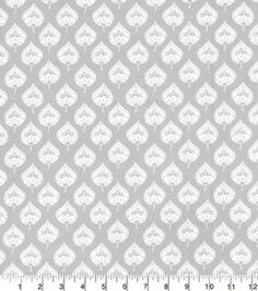 Quilters Showcase Cotton Fabric-Pattern Leaf Gray