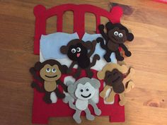 No More Monkeys Jumping on the Bed Felt by momanddotsfeltshop