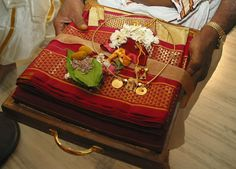 At The Beginning Of Ceremony Groom S Family Presents A Tray Gifts To South Indian Brideindian Bridalgifts