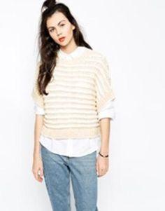 monki knitted top  white #wool #top #knitwear #knit #monki #covetme