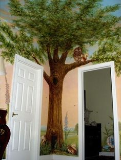 painted ceiling and wall mural of tree