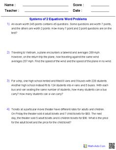 Printables Systems Of Equations Word Problems Worksheet system of equations word problems projects to try pinterest systems two problems